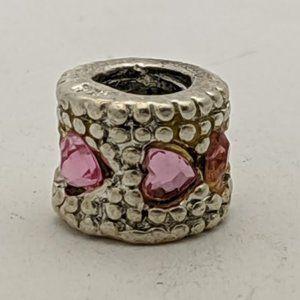 PANDORA Silver Pink CZ Heart Charm - Retired